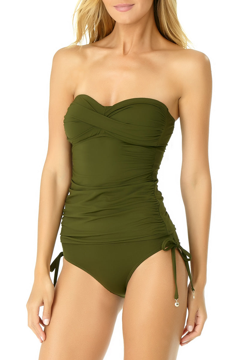 Anne Cole - Live in Color Twist Front Tankini Green 1