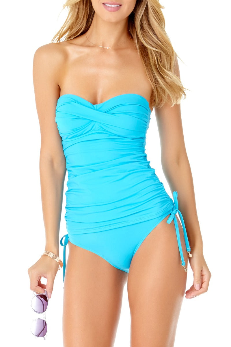 Anne Cole - Live in Color Twist Front Bandeau Tankini Top Blue 1
