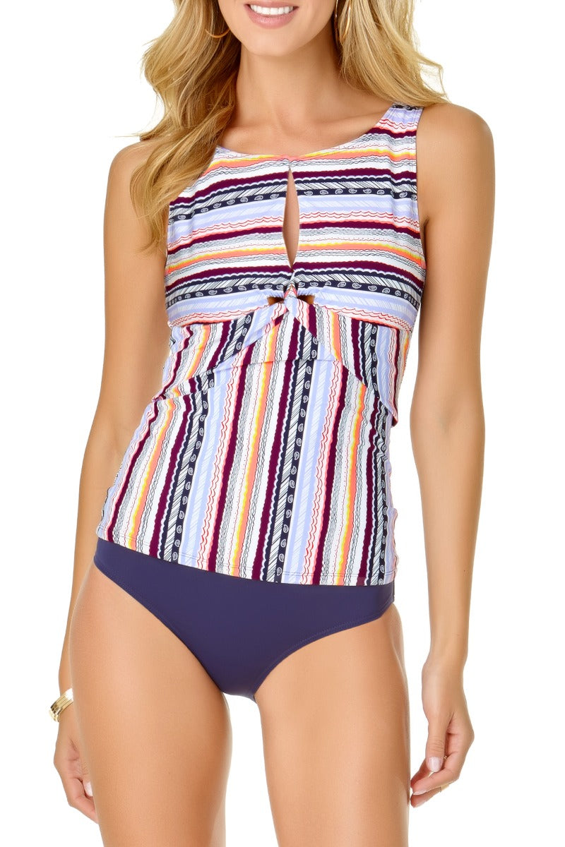 Anne Cole - Stormy Seas Stripe High Neck Keyhole Tankini Top Multi 1