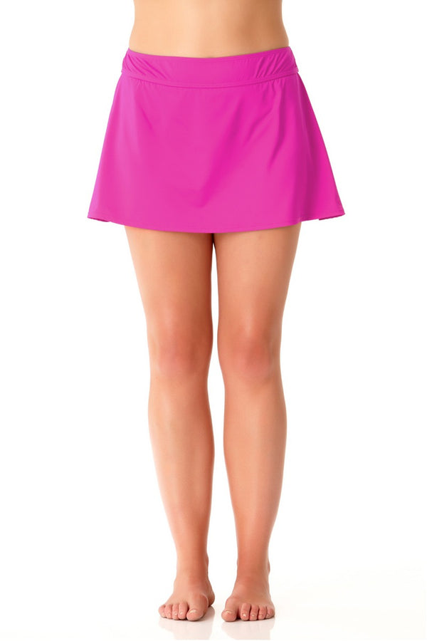 Anne Cole Plus - Live in Color Rock Swim Skirt Pink 1