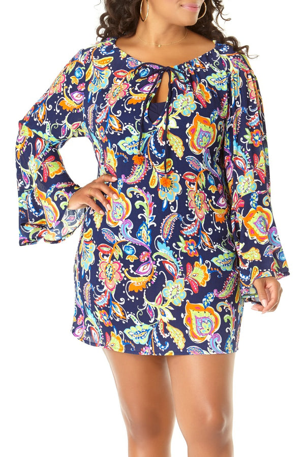 Anne Cole Plus - Paisley Pom Bell Sleeve Tunic