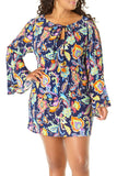 Anne Cole Plus - Paisley Pom Bell Sleeve Tunic Blue 1