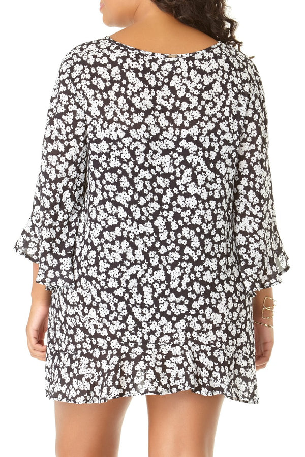Anne Cole Plus - Itsy Bitsy Ditsy Flounce Tunic Black 2