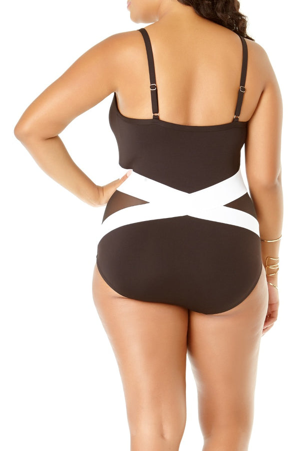 Anne Cole Plus - Mesh Wrap Maillot One Piece