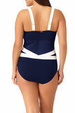 Anne Cole Plus - Asymmetric Spliced One Piece Multi 2