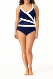 Anne Cole Plus - Asymmetric Spliced One Piece Multi 3
