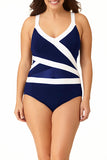 Anne Cole Plus - Asymmetric Spliced One Piece Multi 1