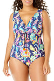 Anne Cole Plus - Paisley Pom Tunnel One Piece Blue 1
