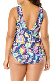 Anne Cole Plus - Paisley Pom Tunnel One Piece Blue 2