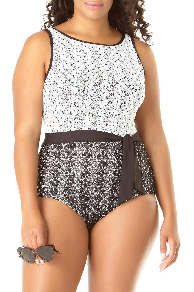 Anne Cole Plus - In First Lace Crochet High Neck One Piece