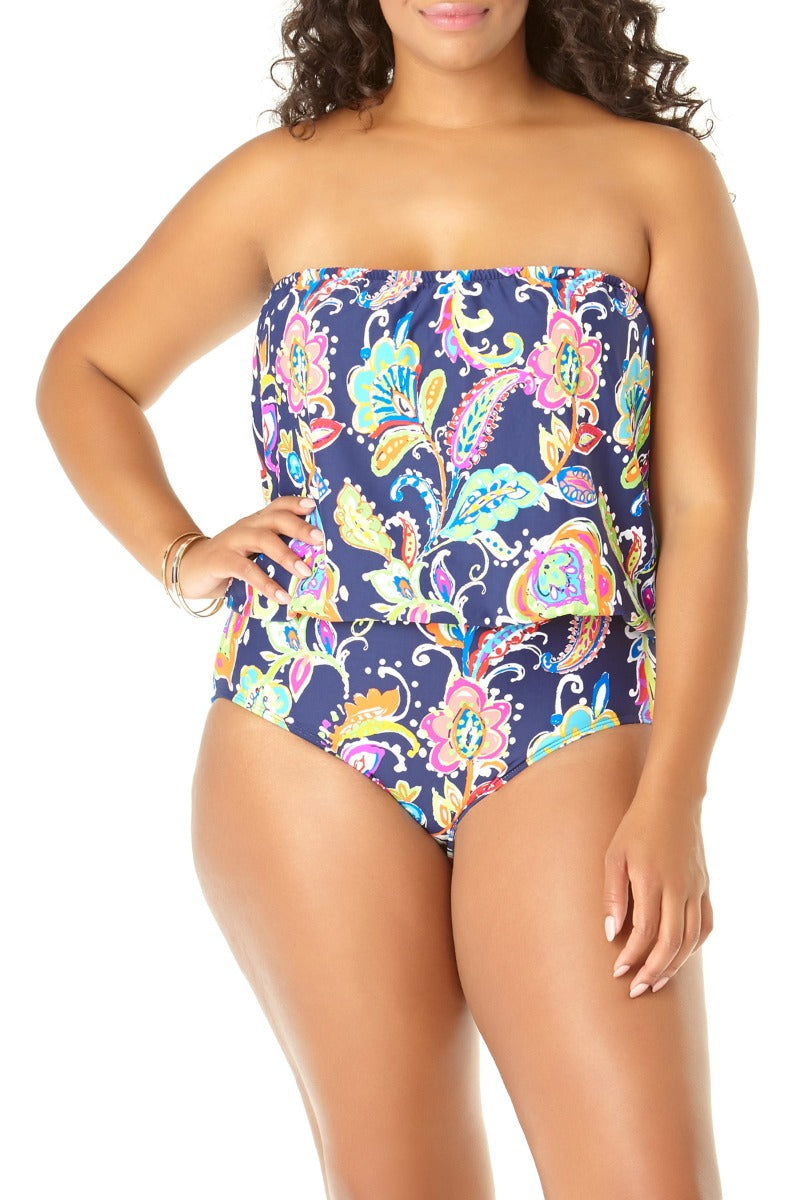 Anne Cole Plus - Paisley Pom Blouson Bandeau One Piece Blue 1
