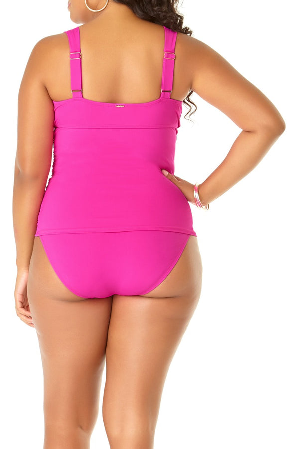 Anne Cole Plus - Live in Color Underwire Front Twist Tankini Top Pink 2