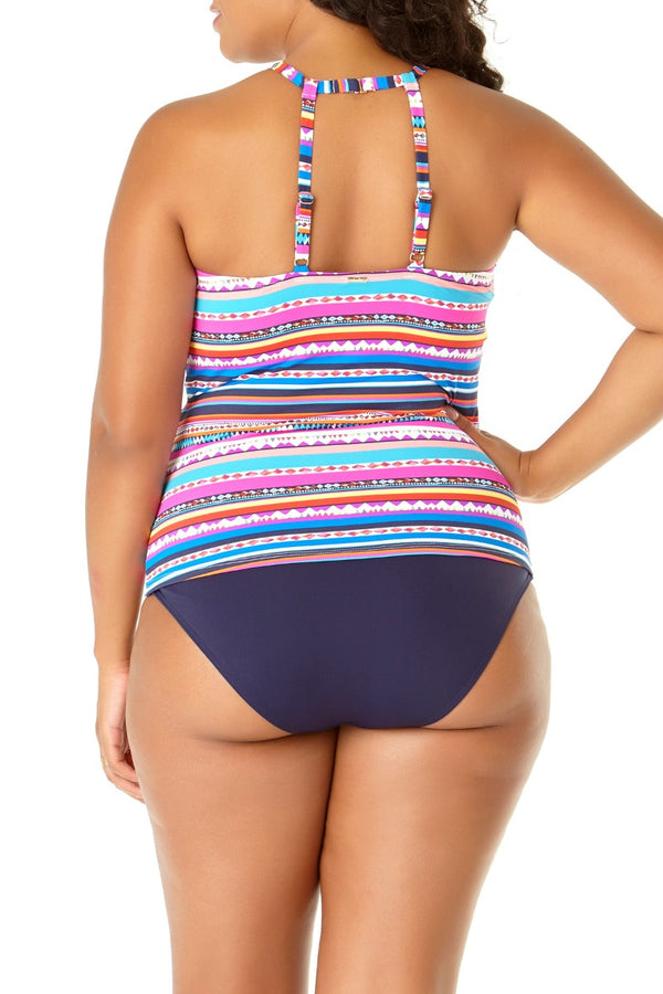 Anne Cole Plus - Retro Braid Stripe High Neck Tankini Top