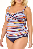 Anne Cole Plus - In Full Bloom Twist Front Shirred Bandeau Tankini Top