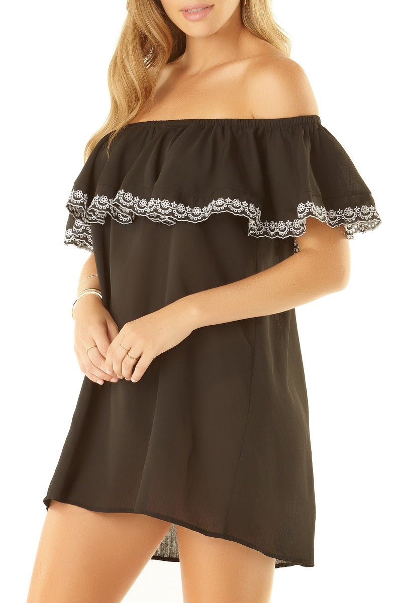 Studio Anne Cole - OTS Eyelet Coverup Dress Black 1