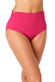 Anne Cole - Convertible High Waist Shirred Swim Bottom