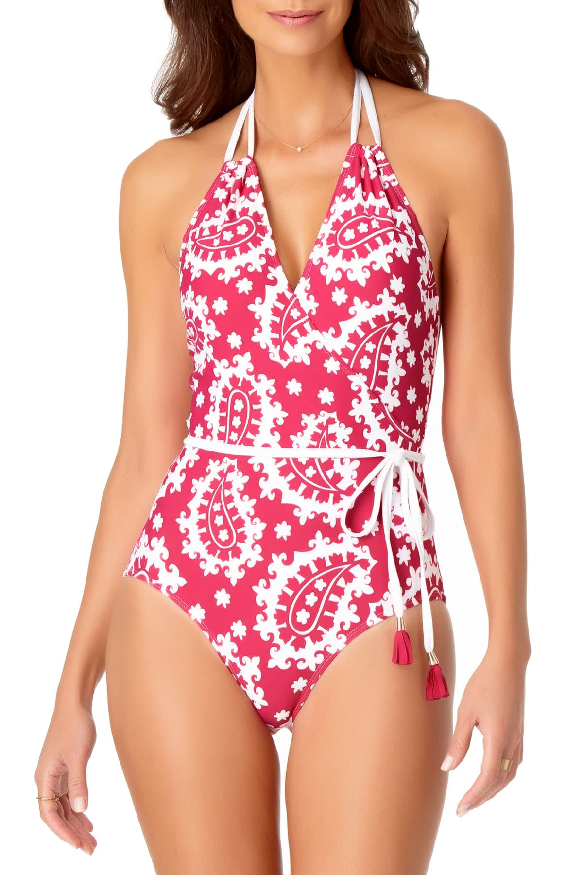 Anne Cole - Belted Wrap Maillot One Piece