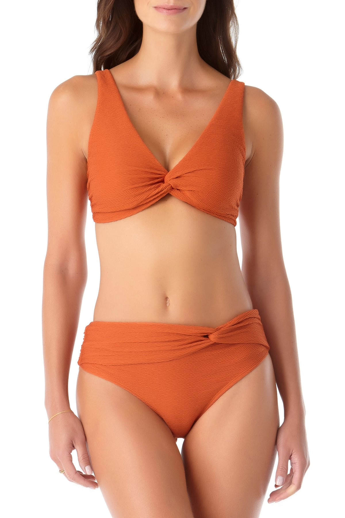Anne Cole - Textured Twist Front Bikini Swim Top