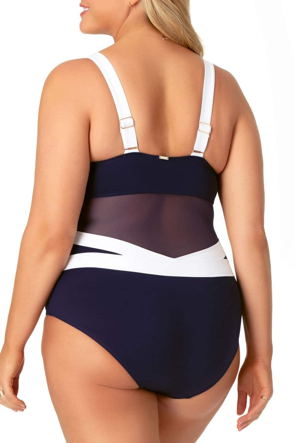 Anne Cole Plus - Colorblock Mesh One Piece