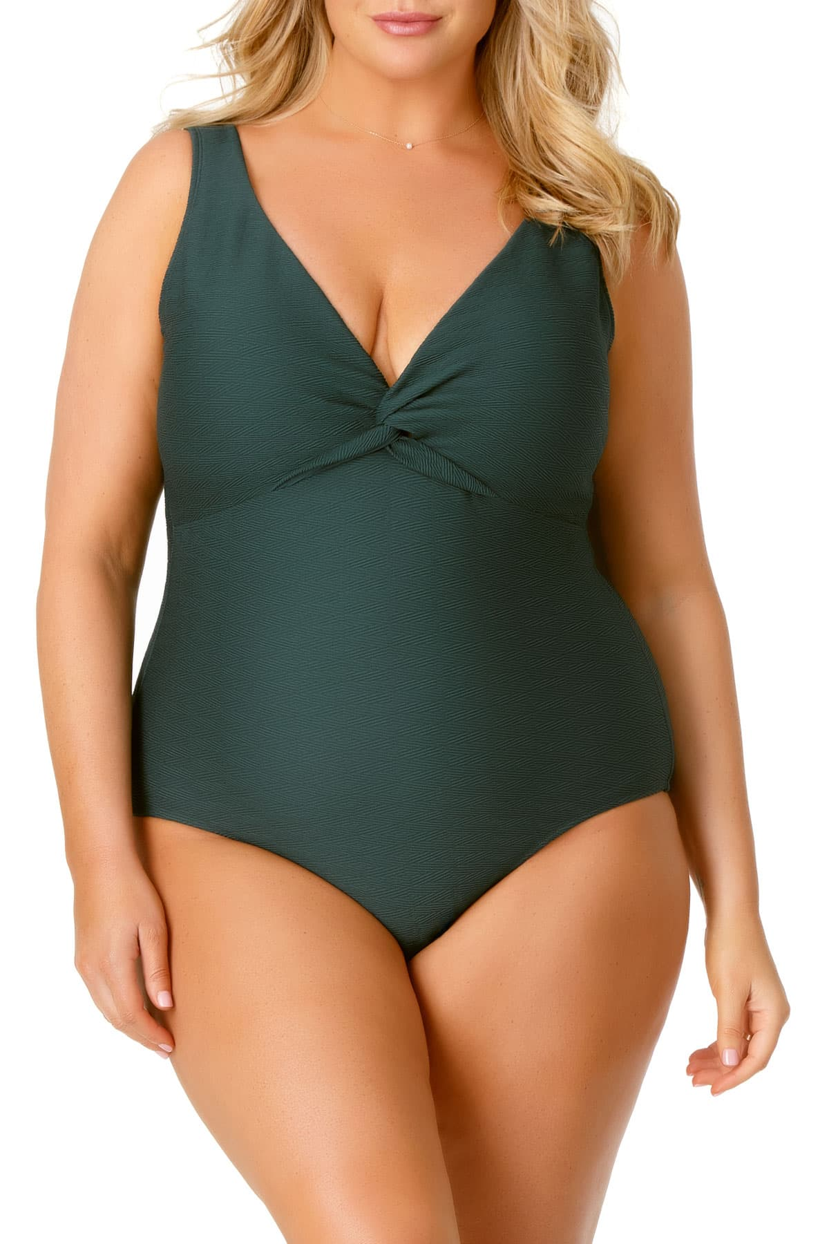 Anne Cole Plus - Twist Front One Piece Swimsuit