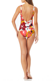 Anne Cole - Center Front Beaded Plunge One Piece Swimsuit