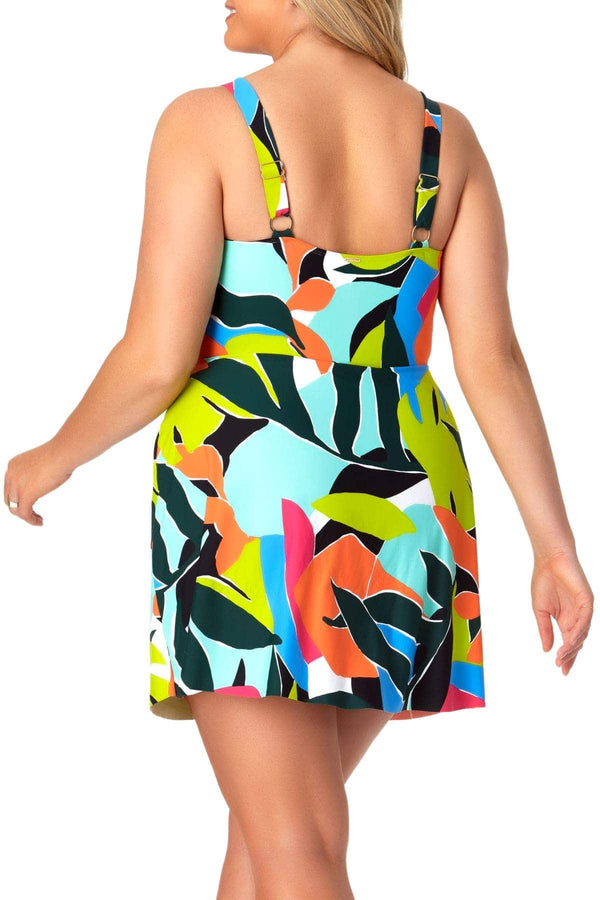 Anne Cole Plus - Swim Dress With Skirted Bottom