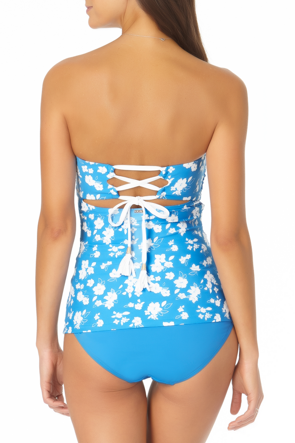 Anne Cole - Twist Front Lace Back Bandeau Tankini Top