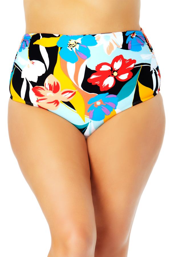Anne Cole Plus - Convertible High Waist Shirred Swim Bottom