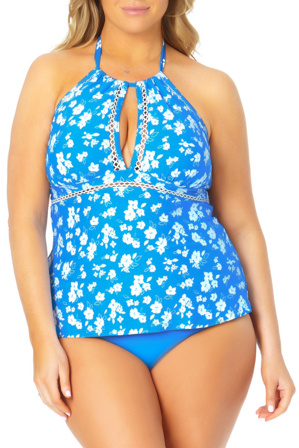Anne Cole Plus - High Neck Keyhole Halter Tankini Top