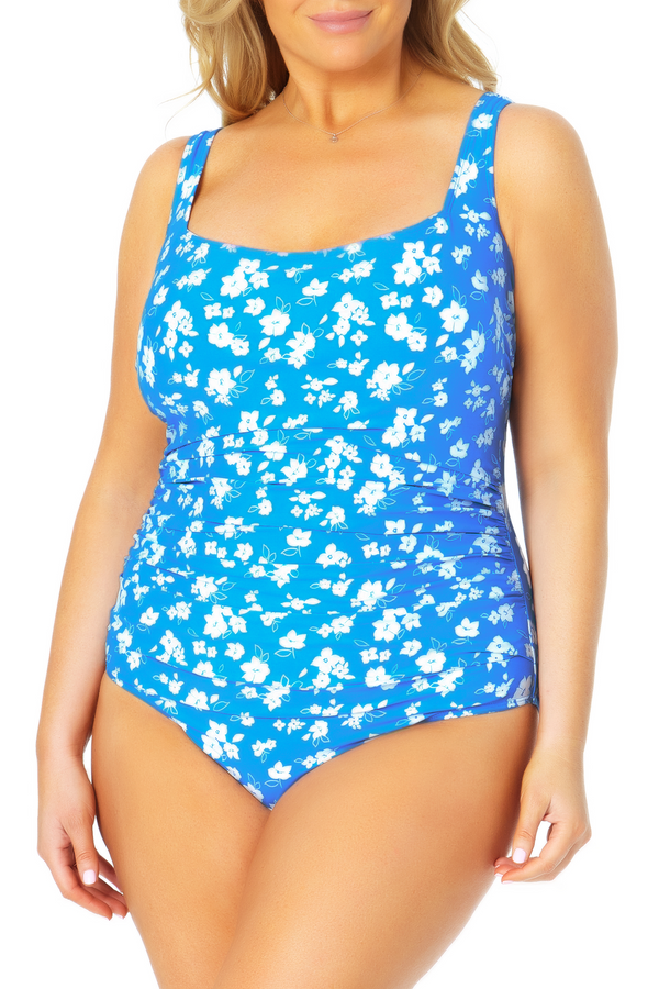 Anne Cole Plus - Square Neck Shirred One Piece