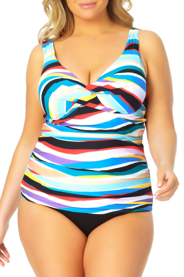 Anne Cole Plus - Twist Front Underwire Tankini Swim Top