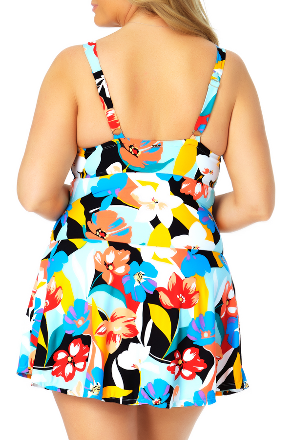 Anne Cole Plus - Twist Front Shirred Underwire Swim Dress