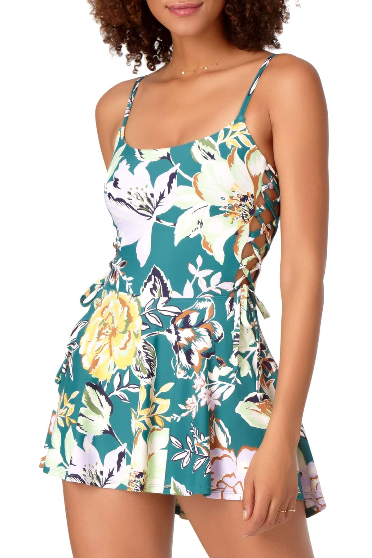 STUDIO Anne Cole - Side Lace UP One Piece Swimdress