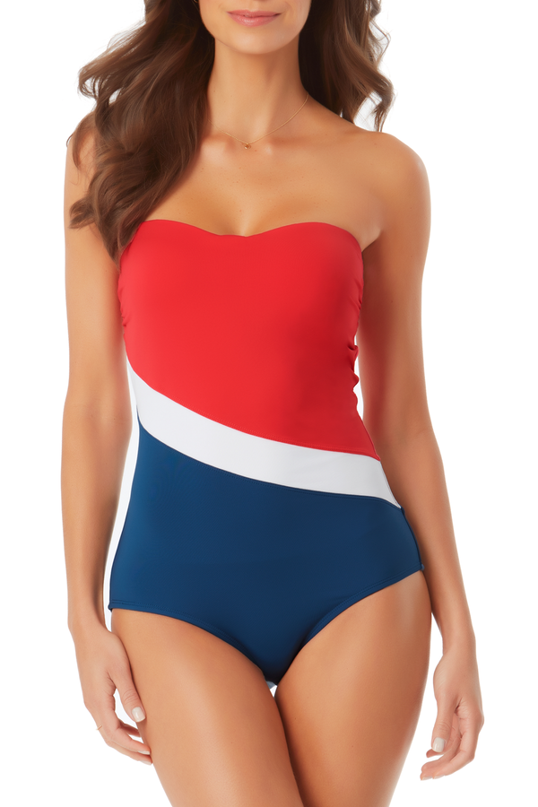 Anne Cole - Colorblock Bandeau One Piece Swimsuit