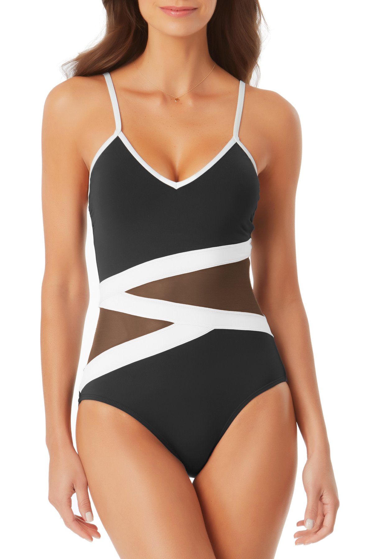 Anne Cole - Colorblock Mesh One Piece Swimsuit