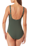 Anne Cole - Square Neck Shirred One Piece