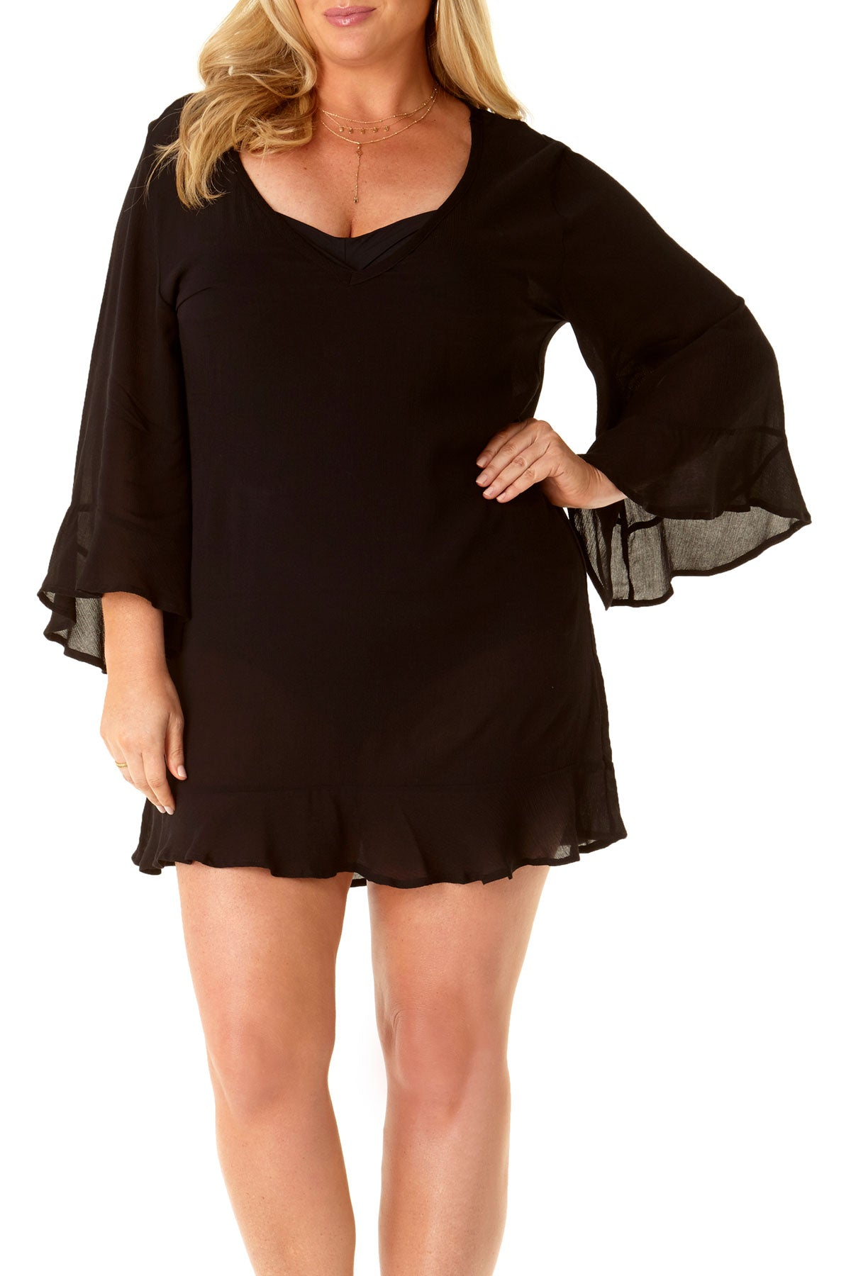 Anne Cole Plus - Flounce V Neck Tunic