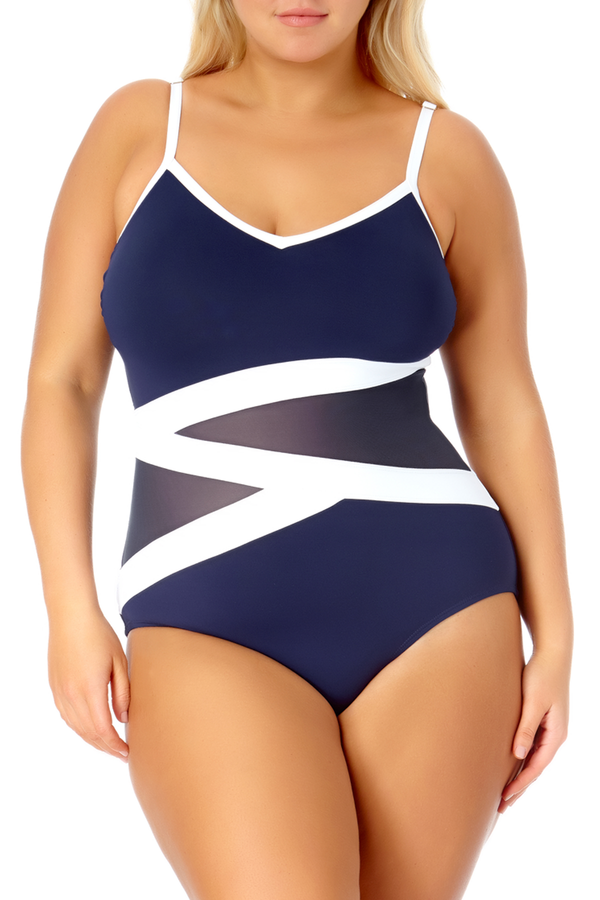 Anne Cole Plus - Colorblock Mesh One Piece Swimsuit