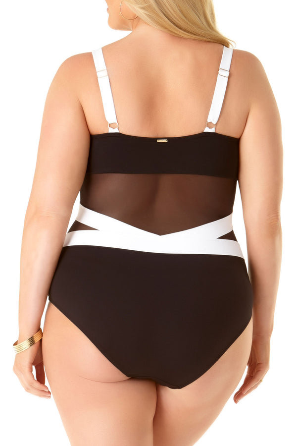 Anne Cole Plus - Over The Shoulder Mesh One Piece Swimsuit