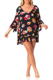 Anne Cole Plus - Flounce V Neck Tunic Cover Up
