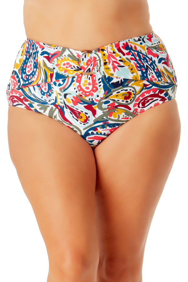 Anne Cole Plus -  Ring Belted High Waist Bikini Bottom