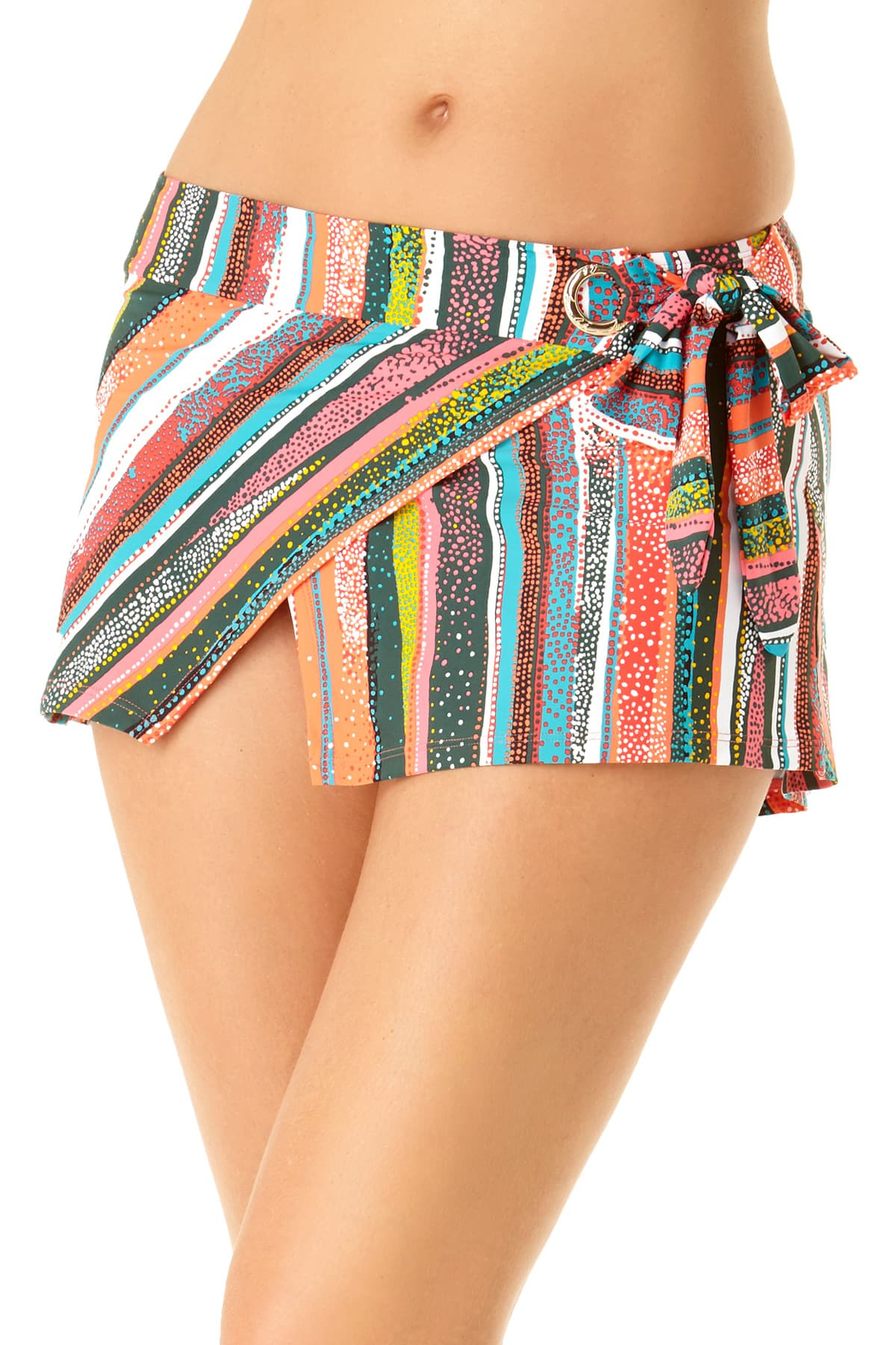 Anne Cole - Asymmetrical Sash Skirted Grommet Skirted Bottom