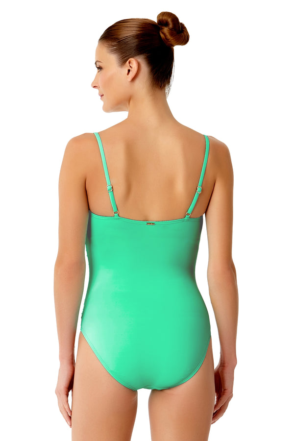 Anne Cole - Live In Color Shirred Lingerie Maillot One Piece Swimsuit Green 2