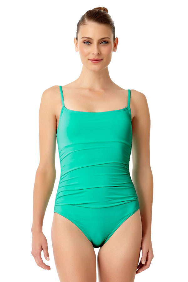 Anne Cole - Live In Color Shirred Lingerie Maillot One Piece Swimsuit Green 1