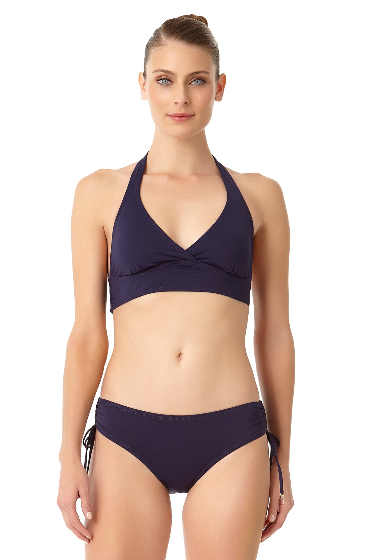 Anne Cole - Live In Color Marilyn Halter Bra Swim Top Navy 1