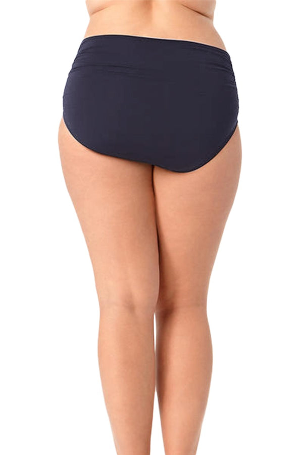 Anne Cole Plus - Live In Color High To Low Convertible Waist Shirred Swim Bottom Dark Blue 2