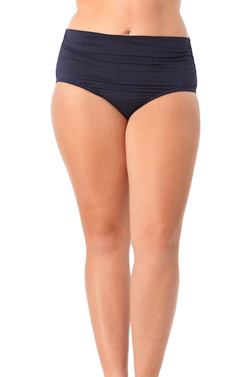 Anne Cole Plus - Live In Color High To Low Convertible Waist Shirred Swim Bottom Dark Blue 1