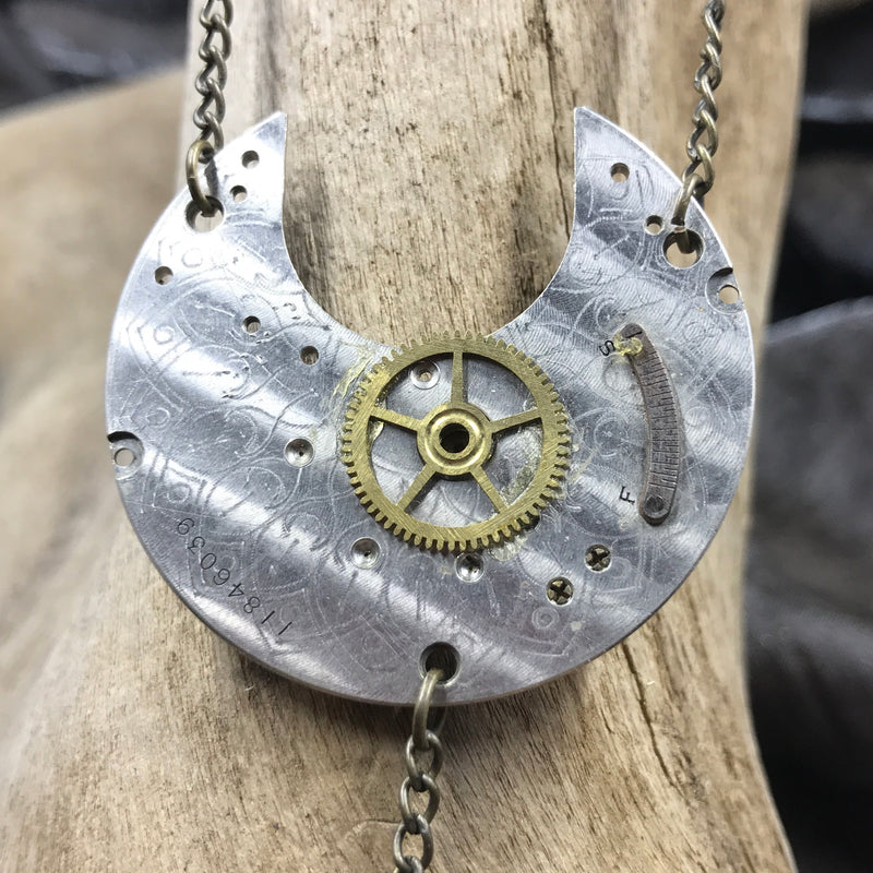 Steampunk Crescent Watch Necklace