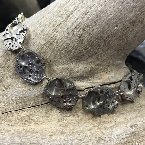 Watch Parts Earrings with Crystals