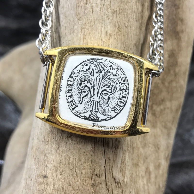 Antique Coin Watch Face Necklace